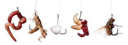 Set von isolierten Fischerei locken auf den Haken