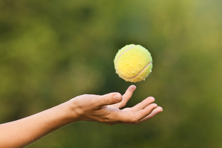 hand tossing tennis ball on green blurred background Imagens