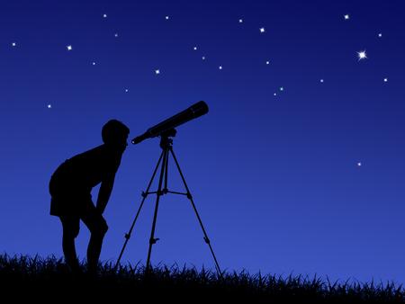de jongen kijkt naar de sterren door een telescoop op het gazon