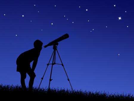 the boy looks at the stars through a telescope on the lawn Imagens - 122796440