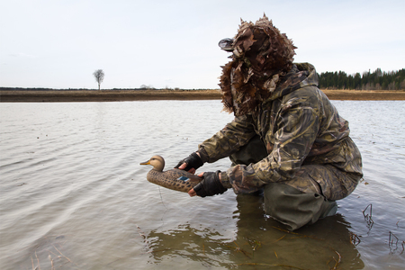 waterfowler places a duck decoy in shallow water before the hunt