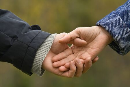 hands of couple holding hands on blurred background