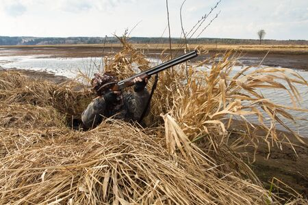 Duck hunter sitting a shelter of reeds on the shore and aims a shotgun at flying waterfowl
