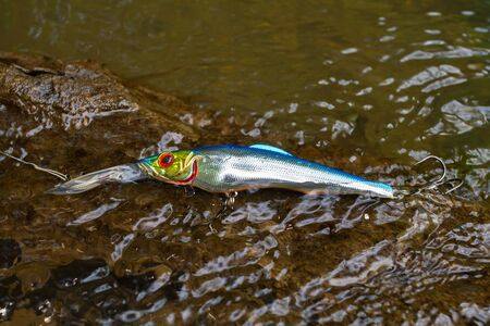 blue shiny wobbler caught on an old overgrown snag in the water while fishing