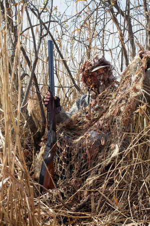 The duck hunter disguises himself in the bushes using a camouflage net. He holds a shotgun in his hand.