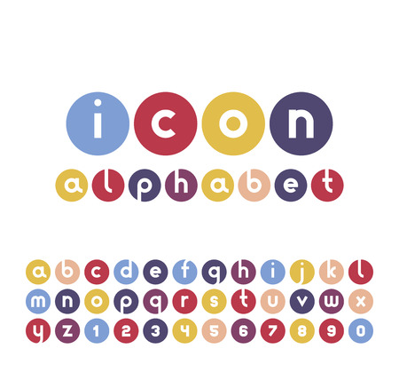 Vector icons alphabet set. Collection of round logos. Font for your design.