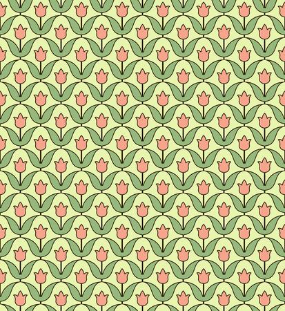 Vector pattern with stylized flowers. Geometric seamless pattern. Vettoriali