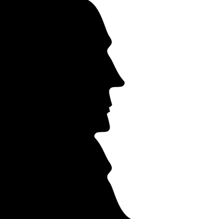 The human face, silhouette profile. Optical Illusion. Vector illustration.