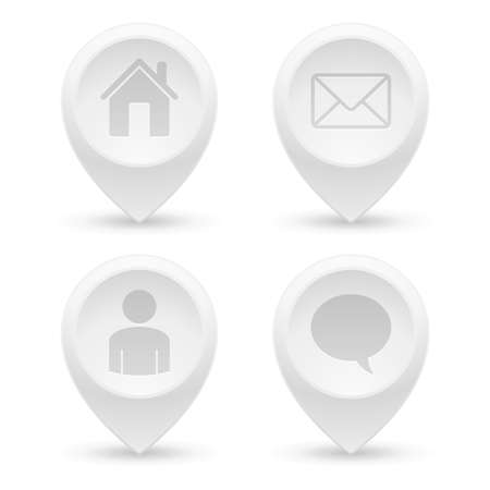 Set of white 3D pointers. Home, email, user, chat.