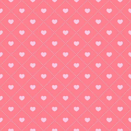 Seamless pink pattern with hearts. Vector illustration. Vectores