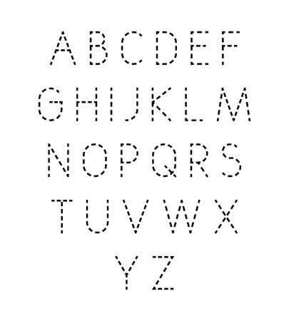 Vektor gepunktete Linie Schriftart. Moderne geometrische stilisierte Buchstaben. Vektorgrafik
