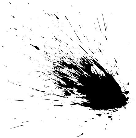 Vector ink splash. Abstract black grunge stain.
