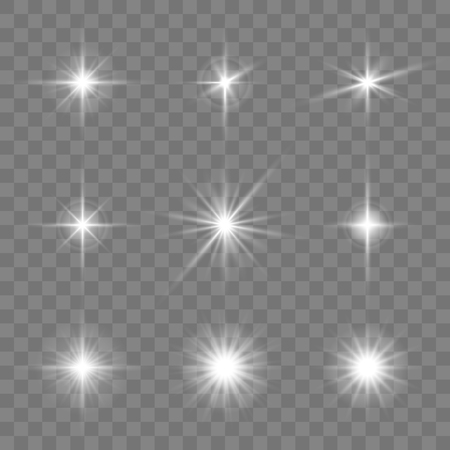 Set of glowing stars on the transparent background. Vector illustration.