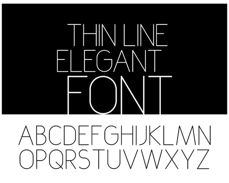 Slim elegant font. Vector alphabet. Thin linear letters set.
