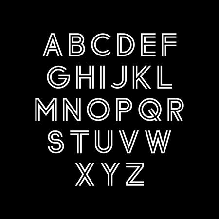 Vector alphabet set. Modern double line font