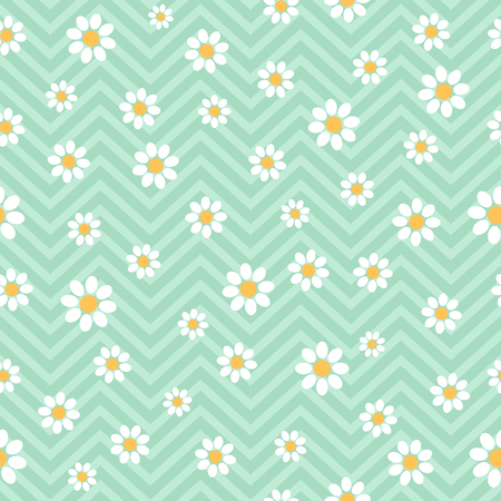 Seamless pattern with daisies. Vector floral pattern.
