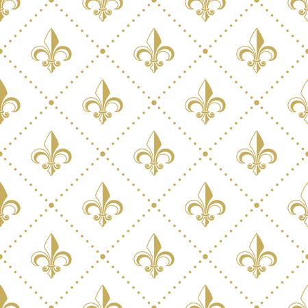 Seamless golden pattern with Fleur de Lis. Vector illustration. Illustration