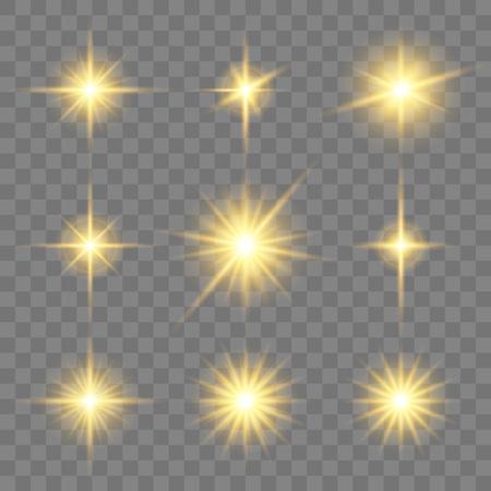 Set of golden glowing star. Vector light effects on the transparent background. Ilustração
