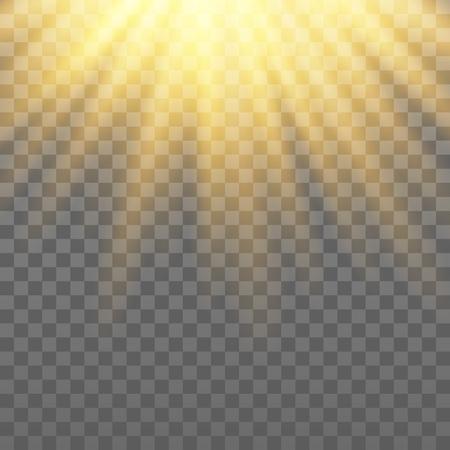 Rayos dorados vectoriales. Efecto de luz sobre el fondo transparente. Ilustración de vector