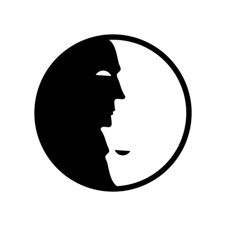 Vector Yin Yang symbol. Icon with stylized faces. Optical illusion. 矢量图像