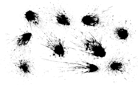 Vector set of grunge ink stains. Collection of abstract black grunge splashes