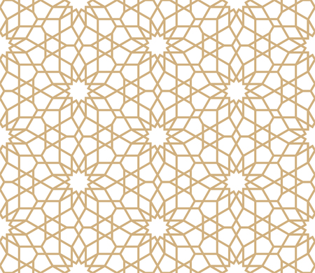 Seamless gold oriental pattern. Islamic background. Arabic linear texture. Vector illustration.