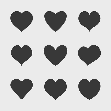 Vector black hearts icons set. Simple symbols for your design. Illustration