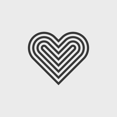 Vector linear heart symbol. Icon for your design.