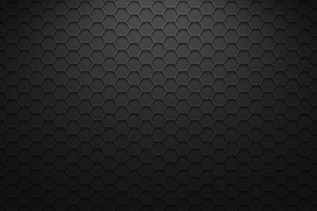 Fondo horizontal oscuro con hexágonos. Fondo de vector con iluminación.