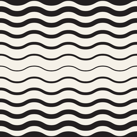 Abstract wavy monochrome background. Vector seamless geometric pattern. Transition texture with waves. Illustration
