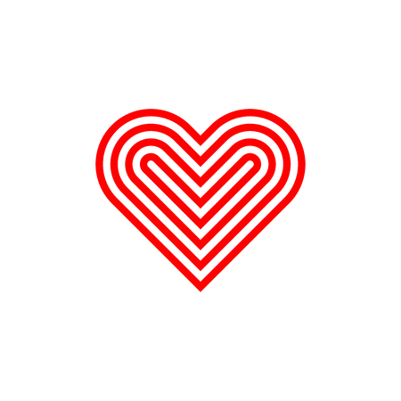 Linear red stylized heart icon. Vector illustration.