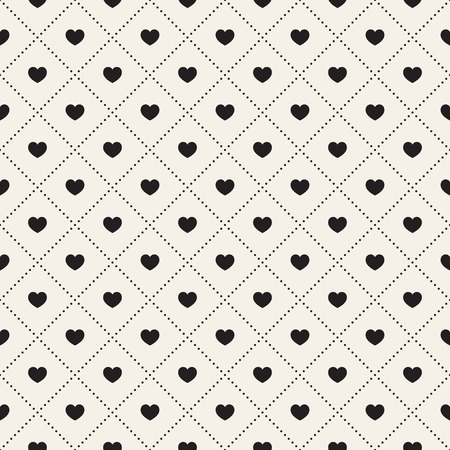 Vector seamless pattern with hearts and dots.