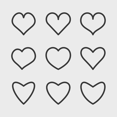 Vector linear hearts icons set. Simple symbols for your design. Illustration