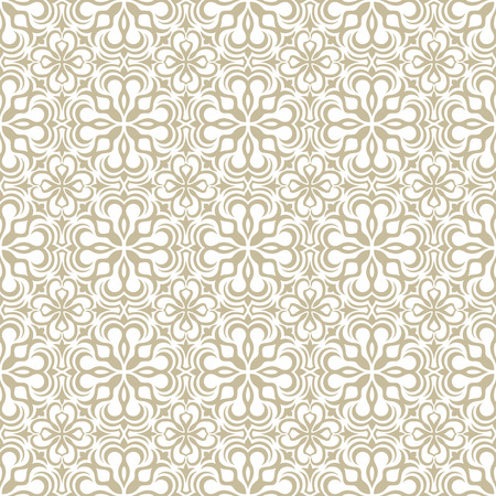 Beige seamless wallpaper pattern. Vector floral ornamental texture.