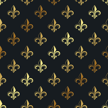 Gold pattern with Fleur de Lys. Seamless vector pattern.