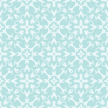 Turquoise seamless wallpaper pattern. Vector floral ornamental texture.
