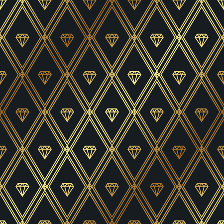 Vector gold pattern with diamonds. Seamless geometric pattern. Illustration