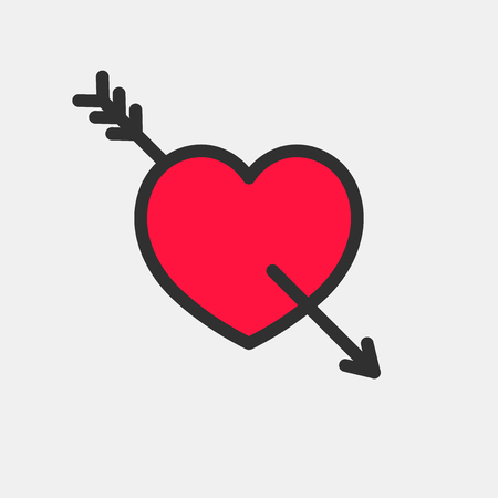 Red heart with Cupids Arrow. Vector icon for your design.