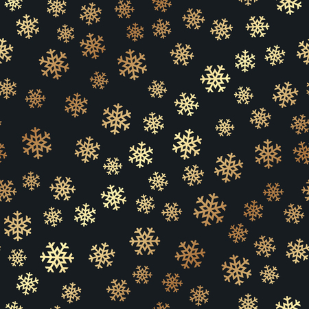 Seamless pattern with golden snowflakes. Vector illustration