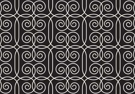 Geometrical linear pattern with curls. Vector seamless texture. Illustration