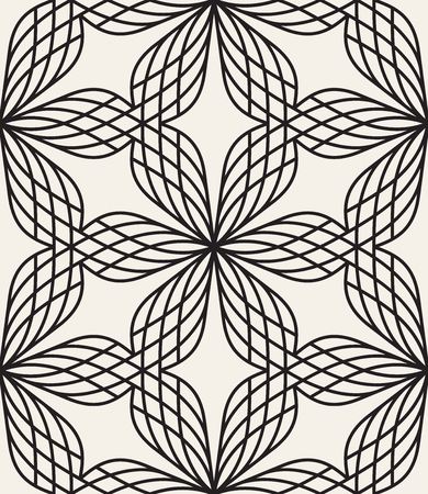 Seamless geometric pattern with linear stylized flowers. Vector illustration.