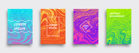 Set of vector abstract brochures. Colorful liquid textures. Marble templates with shadow. Illustration