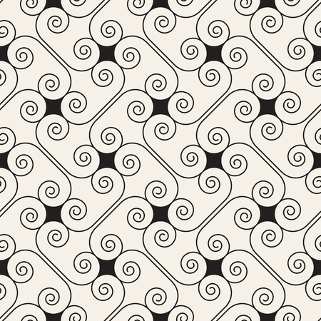 Geometrical beige linear pattern with curls. Vector seamless texture.