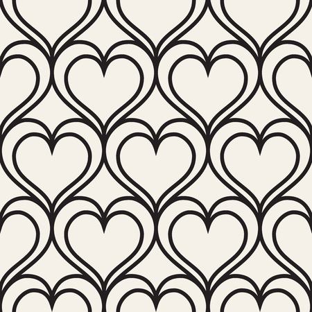 Vector geometric pattern. Seamless linear pattern with hearts. Illustration