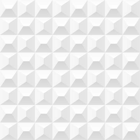 Vector white tiles background. Seamless volumetric geometric pattern. Modern seamless pattern.