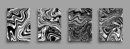 Set of vector abstract grunge brochures. Monochrome liquid textures. Marble templates with shadow.