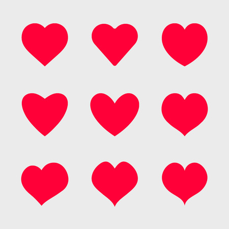 Vector red hearts icons set. Simple symbols for your design.