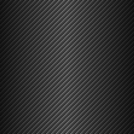 Vektor-Kohlefaser-Textur. Dunkler Hintergrund mit Beleuchtung. Vektorgrafik