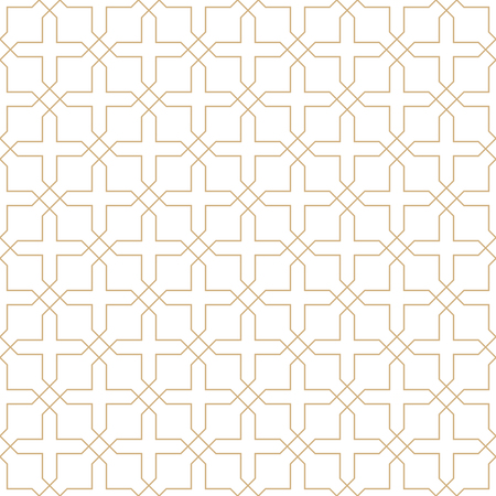 Seamless golden oriental pattern. Islamic background. Arabic linear texture. Vector illustration