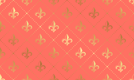 Vector seamless coral pattern with golden lilies. Luxury wallpaper background with Fleur de Lis.